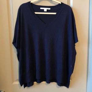 Like new DVF navy silk/cashmere top